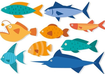 Free Fish in Flat Design Vector - Kostenloses vector #402697