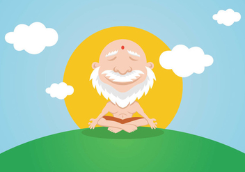 Calm Yoga Guru Meditation - vector gratuit #402787
