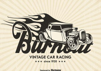 Free Vintage Race Car Burnout Vector Background - Free vector #402877