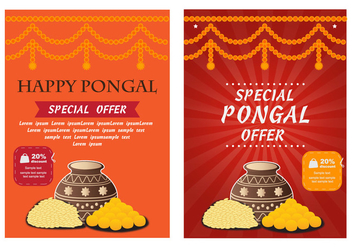 Happy Pongal Poster Flyer Vector - vector gratuit #402927