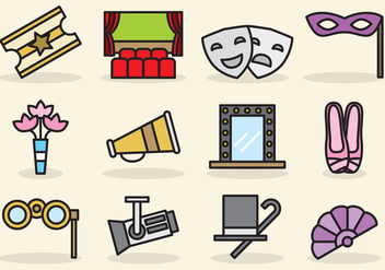 Cute Theatre Icons - vector #403217 gratis