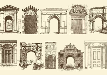Sepia Doors Portals And Archs - vector gratuit #403247