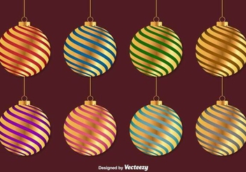 Golden Christmas Vector Spheres - Kostenloses vector #403637