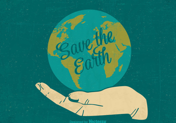Free Retro Save The Earth Vector Poster - Kostenloses vector #403697