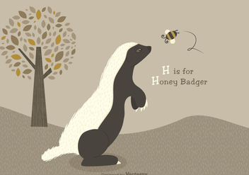 Free Honey Badger Vector Illustration - Free vector #403717
