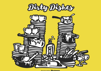 Free Drawn Dirty Dishes Vector Illustration - бесплатный vector #403737