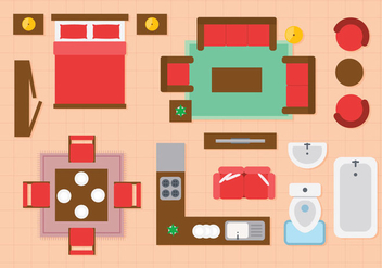 Free Floorplan Interior Icons - vector #403757 gratis