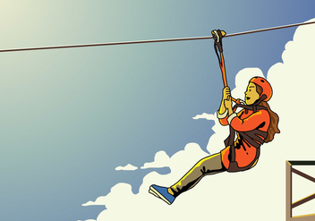 Young Female Zipline Rider - vector gratuit #403937