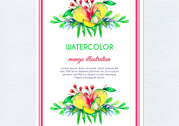 Vector Watercolor Mango Illustration - vector gratuit #404067