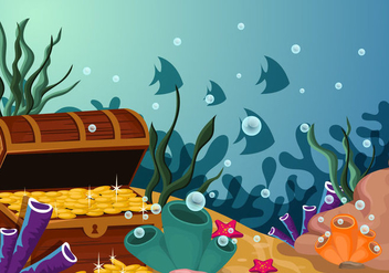 Under Water Scene With Treasure Illustration - Free vector #404097