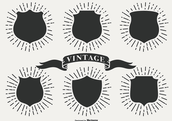 Retro Sunburst Labels - Free vector #404217
