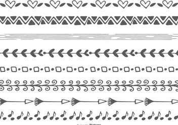 Cute Hand Drawn Vector Borders - vector gratuit #404227