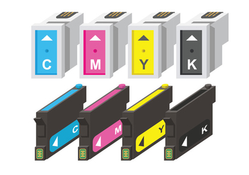 Ink Cartridge CMYK Vectors - vector #404427 gratis