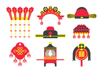 Traditional Chinese Wedding Element Vectors - vector gratuit #404447