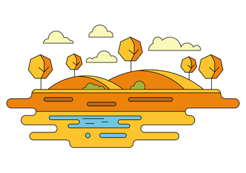 Warm Landscape Vector Illustration - Free vector #404627