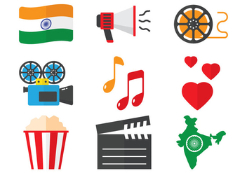 Bollywood Flat Icons - vector gratuit #404727