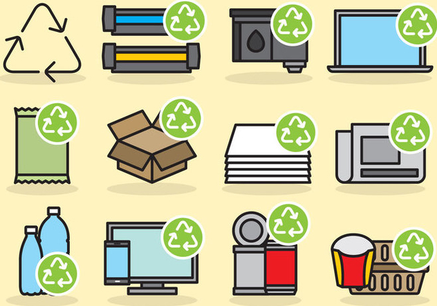 Cute Recycling Icons - Kostenloses vector #404977