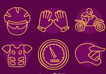 Motocross Element Line Icons Vector - vector #405097 gratis
