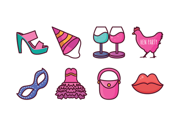 Free Hen Party Icons - vector #405377 gratis
