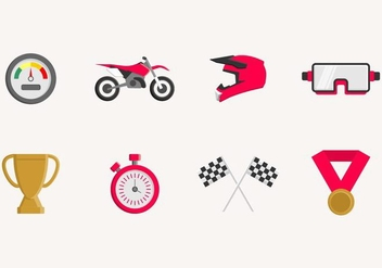 Flat Dirt Bike Icon - Free vector #405527