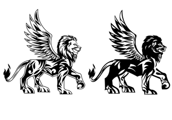 Winged Lion Vectors - vector gratuit #405637