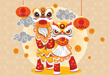 Chinesse Lion Dance and Couple Vector - Free vector #405667