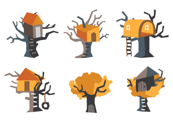 Orange TreeHouse Vector Illustration - Free vector #405767