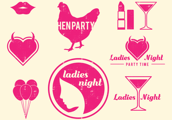 Retro Hen Party Design Elements - бесплатный vector #405867