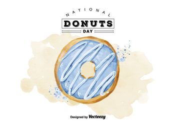 Free National Donuts Day Watercolor Vector - бесплатный vector #405887