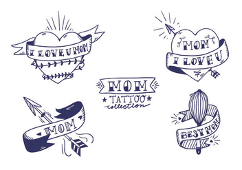 Free Mom Tattoo Collection - vector #405917 gratis