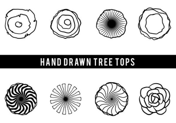 Free Hand Drawn Tree Tops Vector - Free vector #406047
