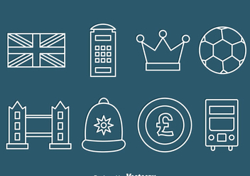 United Kingdom Element Line Icons Vector - бесплатный vector #406197