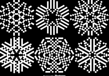 Pixelated Snowflakes Set - Vector - Kostenloses vector #406227