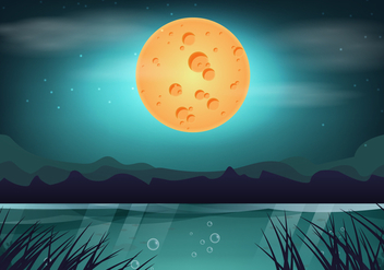 Beauty Moon Night Swamp - бесплатный vector #406397