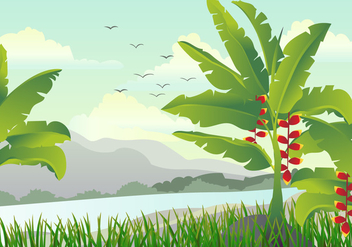 Scene With Banana Tree illustration - бесплатный vector #406437