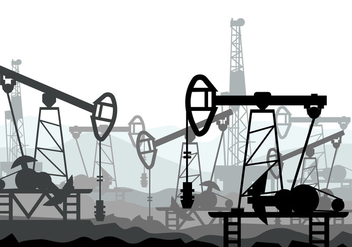 Oil Field Vector Illustration - Kostenloses vector #406487