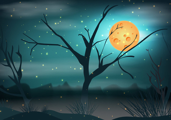 Swamp At Night Background - бесплатный vector #406577
