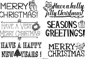 Cute Hand Drawn Christmas Lettering - vector gratuit #406657