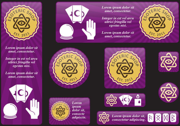 Esoteric Banners - vector gratuit #406747