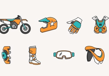 Dirt Bike Icon and Elements - Free vector #406857