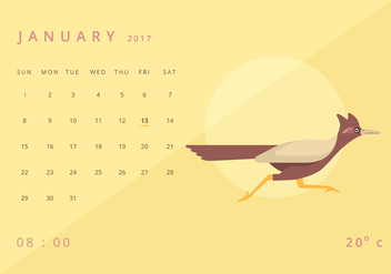 Roadrunner Calendar Illustration Template - vector #407047 gratis