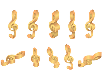 Violin Key Gold Icons Vectors - Free vector #407147