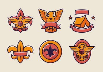Eagle scout badge color vector pack - бесплатный vector #407177