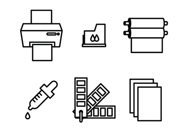 Icons of Printing Stuff - vector gratuit #407257