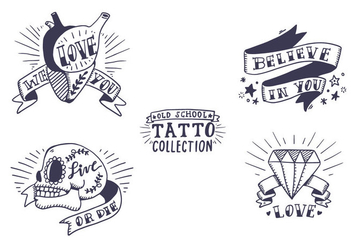 Free Old School Tattoo Collection - Kostenloses vector #407327