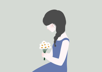 Woman With Flowers Illustration - Kostenloses vector #407397