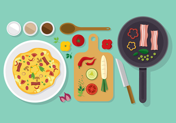 Omelet Kitchen Set Free Vector - vector gratuit #407427