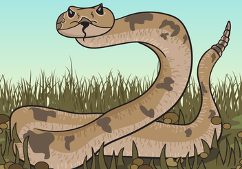 Brown Rattlesnake Looking For Prey Illustration - Free vector #407447