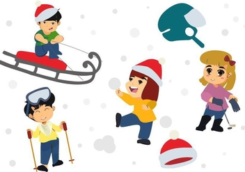 Free Happy Children Playing in Winter Season Vector - vector gratuit #407537