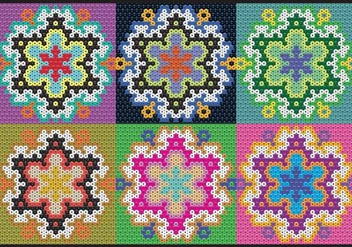 Huichol Flowers Patterns - Free vector #407627